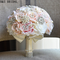 H&S BRIDAL Round Blush Wedding Bouquet Teardrop Butterfly Brooches Bouquet Alternative Cascading Bouquet Crystal Wedding Flowers
