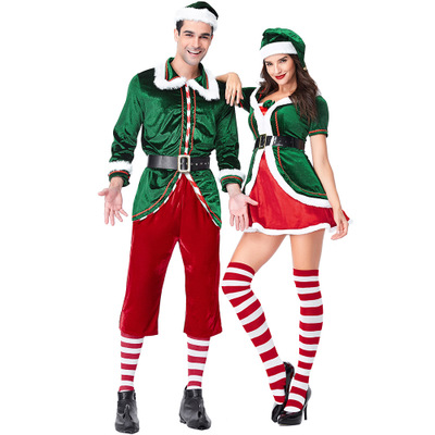 Women Men Christmas Elf Costume Adults couple clothing Green Elf Cosplay Costumes Purim Carnival Party Supplies