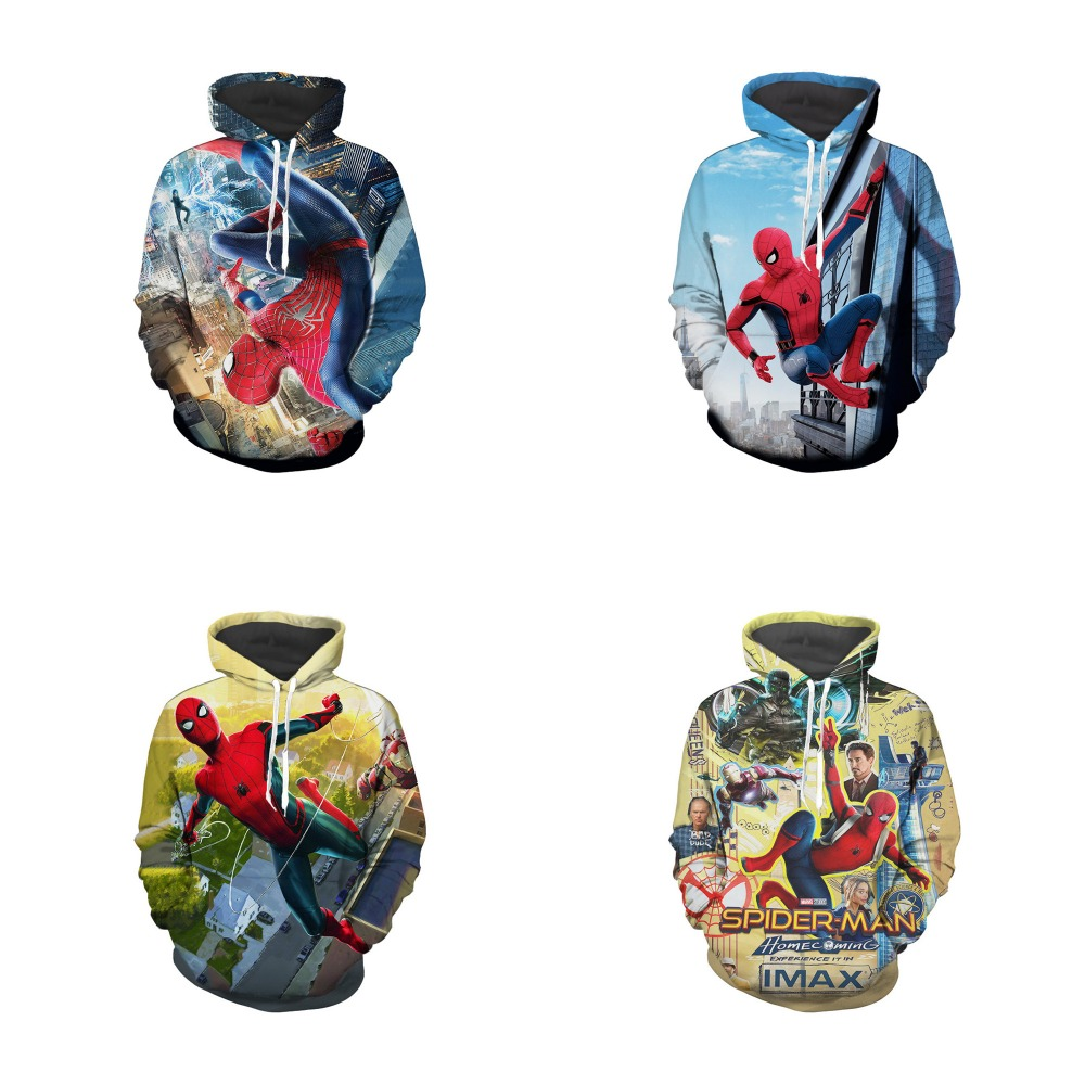 Web of Spider-Man Spider-Man: Homecoming Cosplay Costume Autumn men women anime SpiderMan 3D Printing Jacket Hooded sweater