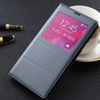 For Samsung Galaxy Note4 Slim Smart View Shell Auto Sleep Wake Phone Bag Fashion PU Leather