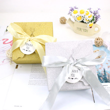 AVEBIEN 50pcs Event Party Gift Boxes with Ribbon Wedding Decoration Cake Package Gold/Sliver Star Paper Chocolate Wrap for Guest