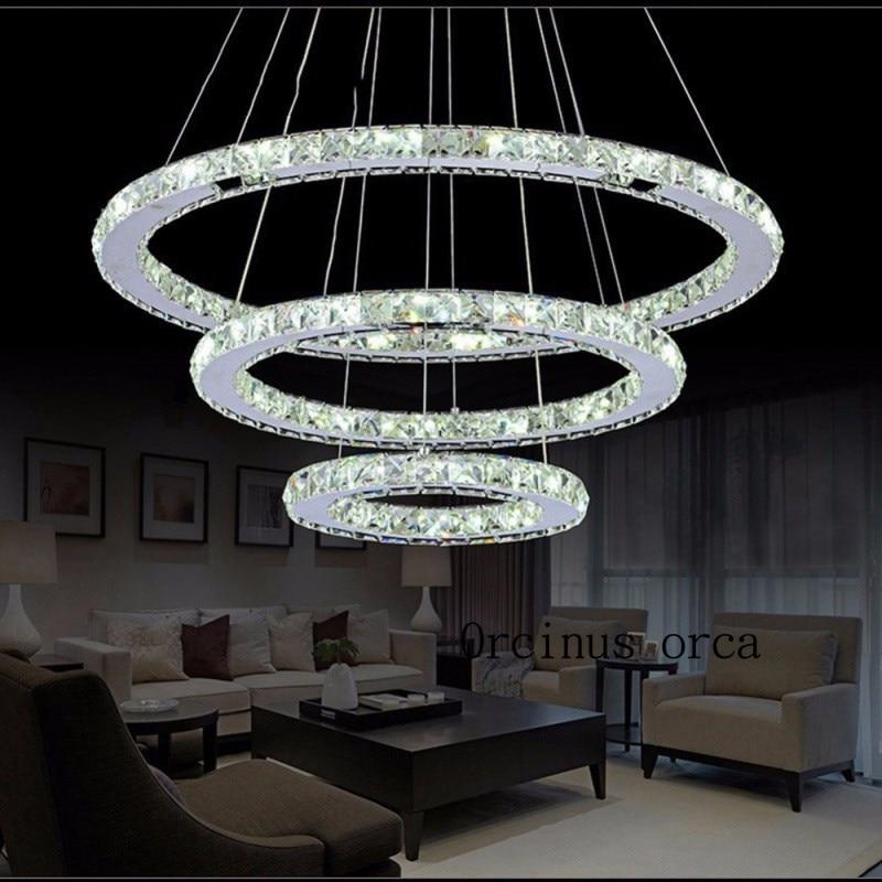 Diamond Crystal Ring LED Chandelier Crystal Lamp Modern Crystal Light Fixture Circle Hanging Lustres LED Luminaire Home Lighting