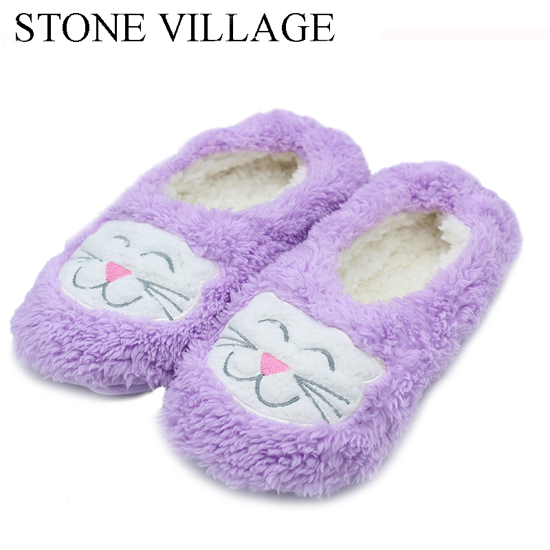 Cute Cartoon Embroidery Lady Slippers Indoor Floor Slippers Shoes Lovely Women Slippers Plush Warm Winter Home Slippers ST8821 men winter soft slippers plush male home shoes indoor man warm slippers shoes