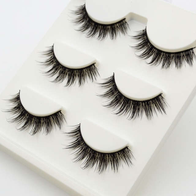 3 Pairs Set 3d False Eyelashes Messy Cross Thick Natural Fake Eye