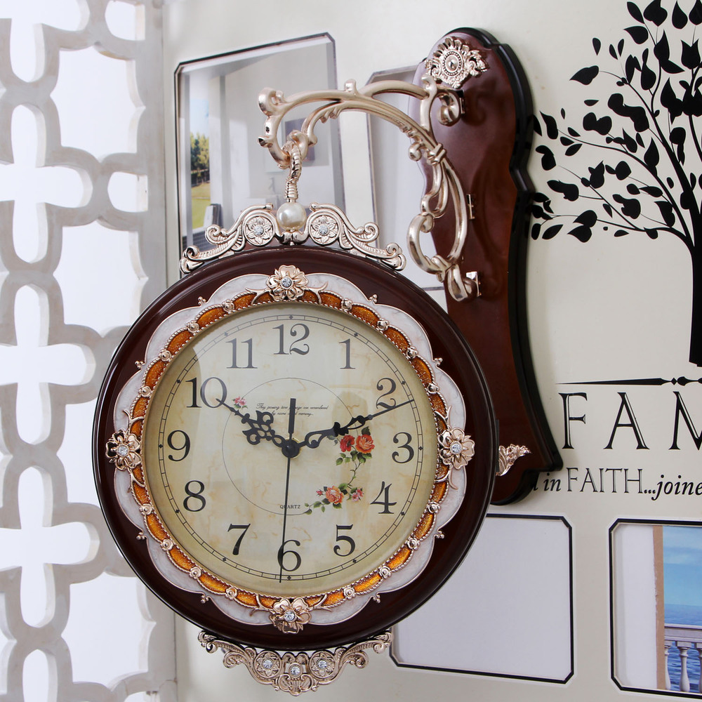 European creative living room wall clock bell on both sides of double-sided wall clock hanging table large modern ultra-quiet wa