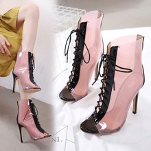 Liren 2019 Summer Fashion Sexy Lady Boots Cross-tied Lace-up Ankle High Heels Boots Comfortable Round Open Toe Breathable Shoes women mixed color patchwork ankle boots lace up crystal cross tied high heels sexy peep toe ladies summer sandal boot