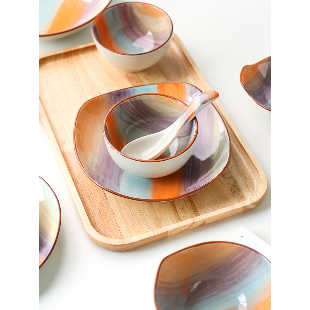 ceramic dinner plates Japan style dishes and plates sets steak plate soup bowl rice bowls creative tableware kitchen home use