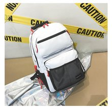 OE Trendy Backpack for Street Hip Hop School College Travel Laptop Pack Waterproof Panelled Large Capacity Mochila рюкзак