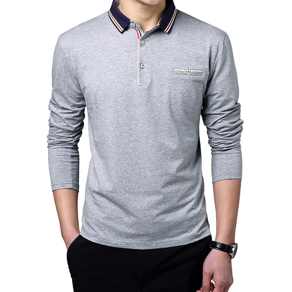 2018 Spring Summer Polo Shirt Men Solid Color Long Sleeve New