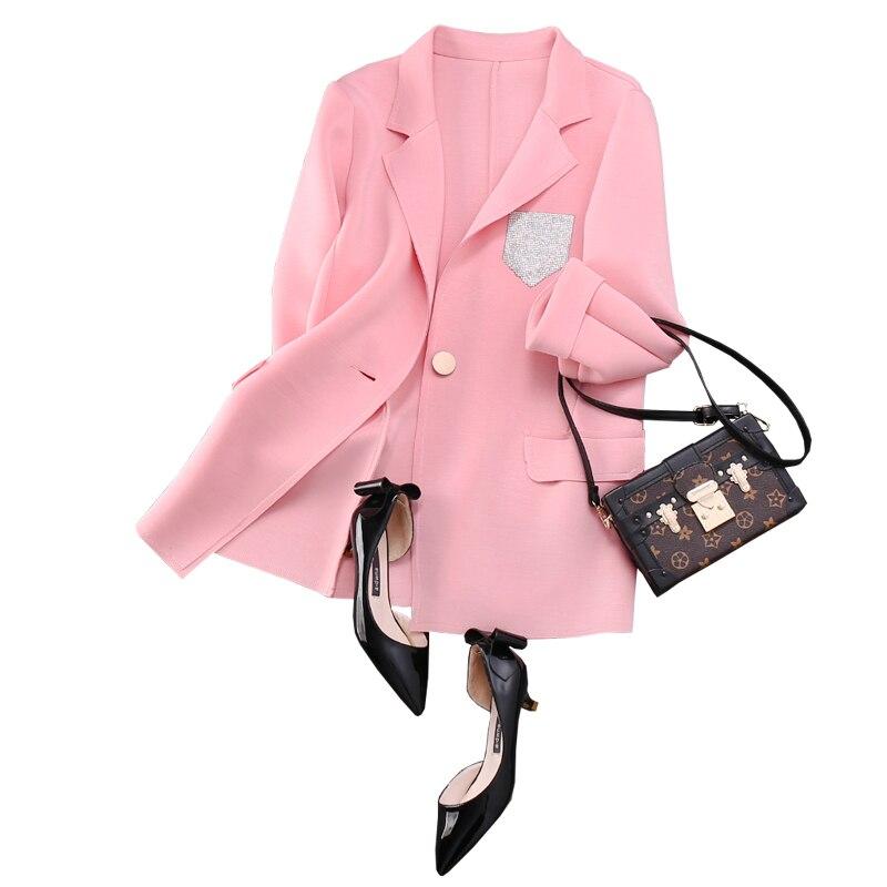 Nouveauté Samgpilee Décontracté Bouton Trois 4xl Printemps Poches white Blazers Trimestre Solide Black Femmes Manches Seul 2019 Entaillé Mode pink L wBnfqdPEpB