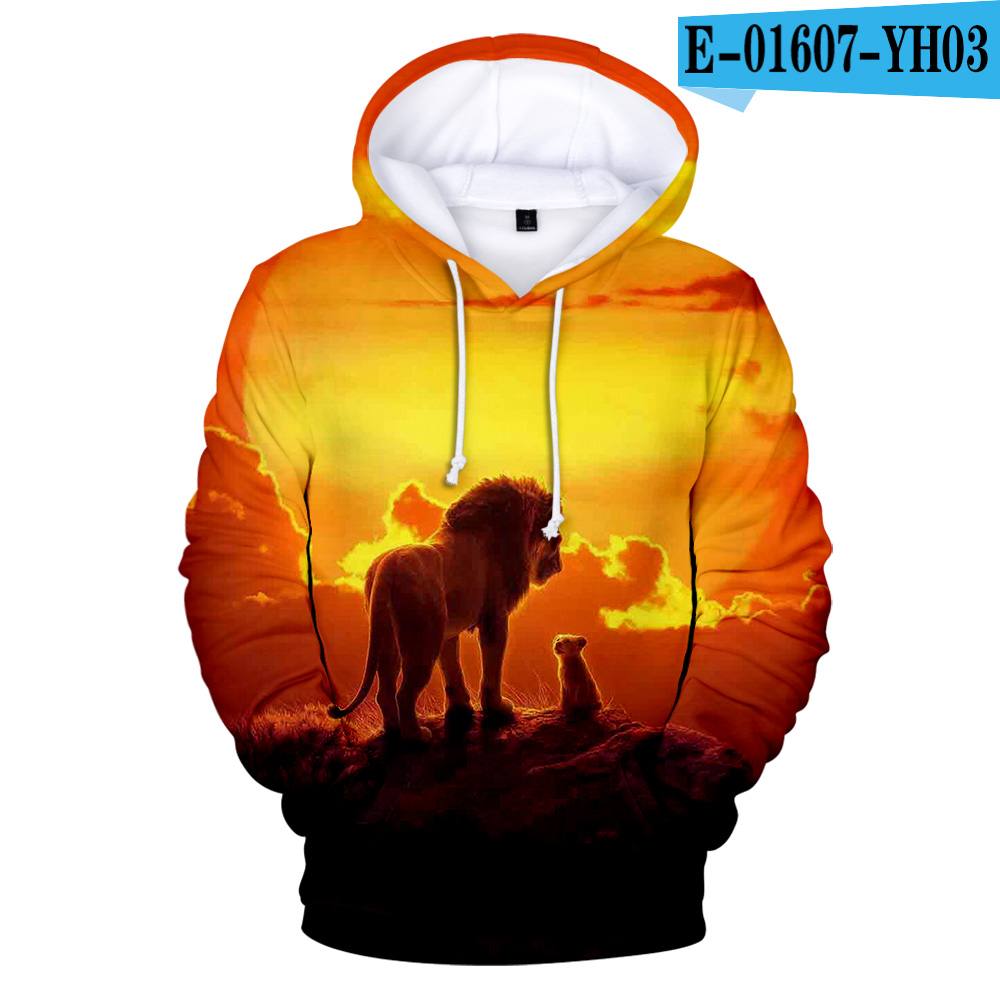 Hot Sale Lion King 3D Hoodies Sweatshirts Boys/girls Long Sleeve Streetwear Pullovers 3D Print Lion King Men's Cool 3D Clothes