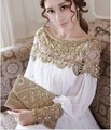 2015 New Downton Abbey Victoria Vintage Elegant Hand Embroidery Jacquard  Luxury Long White Chiffon DressUSD 109.00 piece a3ba70ba31f7