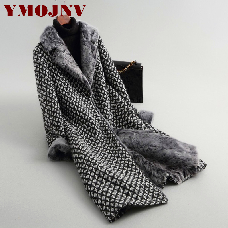 Agneau Tweed Haining Fourrure Longue Femme Manteau De 2019 Black À Laine Nouveau L'intérieur Fourrure 0wHBUqZ