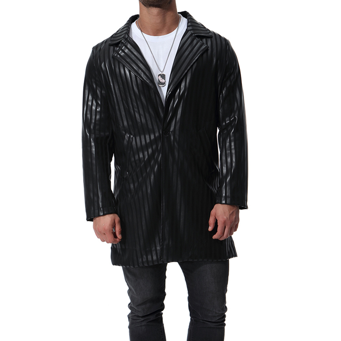 MarKyi new arrival striped mens long leather jacket coat 2018 good quality sleeve jaqueta masculina de couro