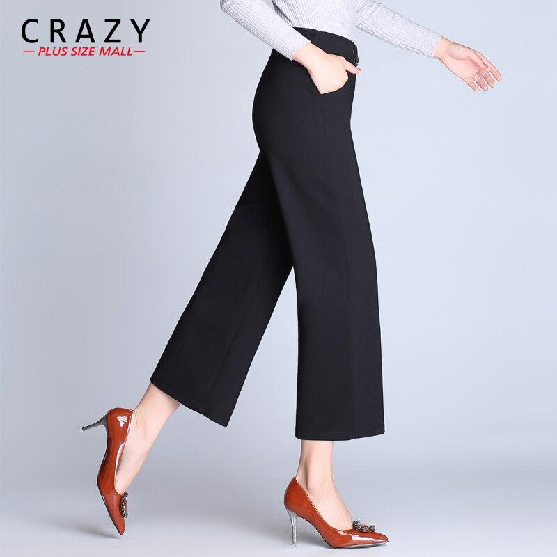 Bottoms 2019 Women Ol Half Length Pants Loose Chiffon Solid Wide Leg Pants Elastic High Waist Female Pants With Pocket Plus Size M-7xl 2019 Latest Style Online Sale 50%