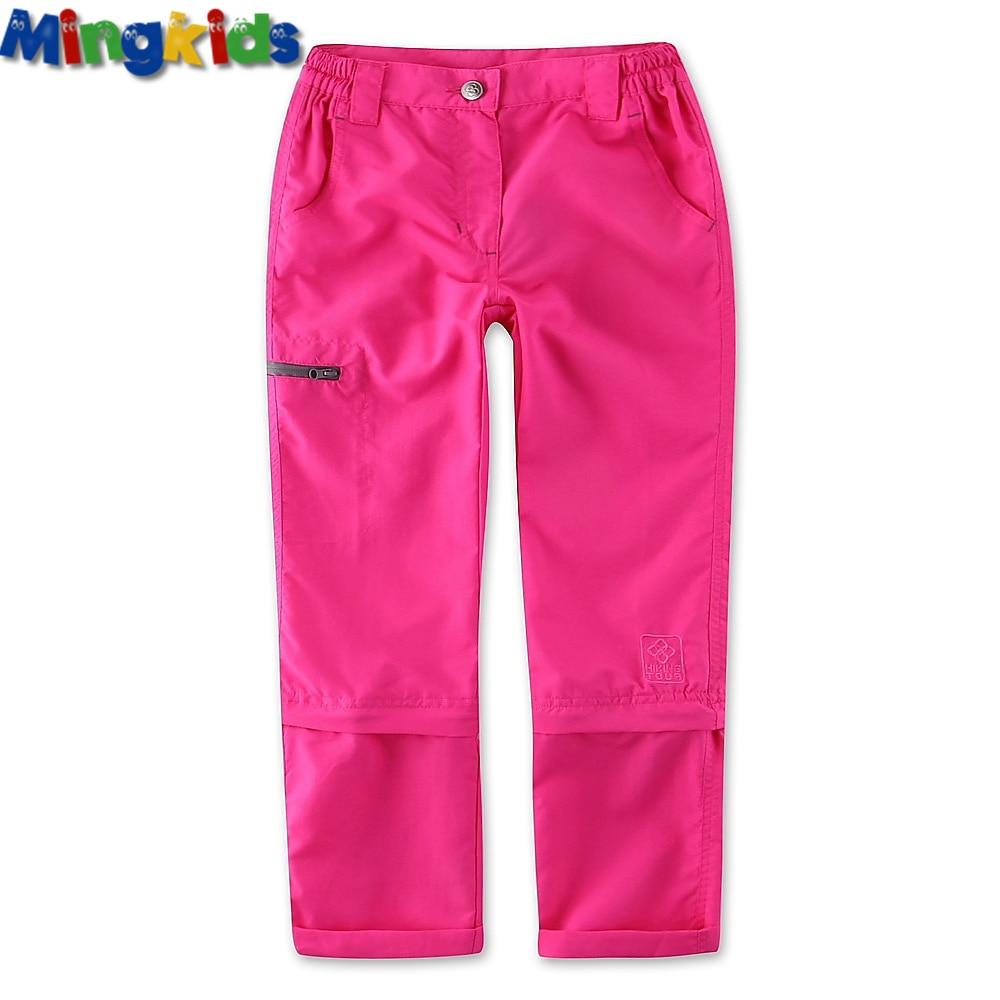 Mingkids Waterproof hiking trousers for girl outdoor pants German quality ski rain pants 122-164 European size detachable legs