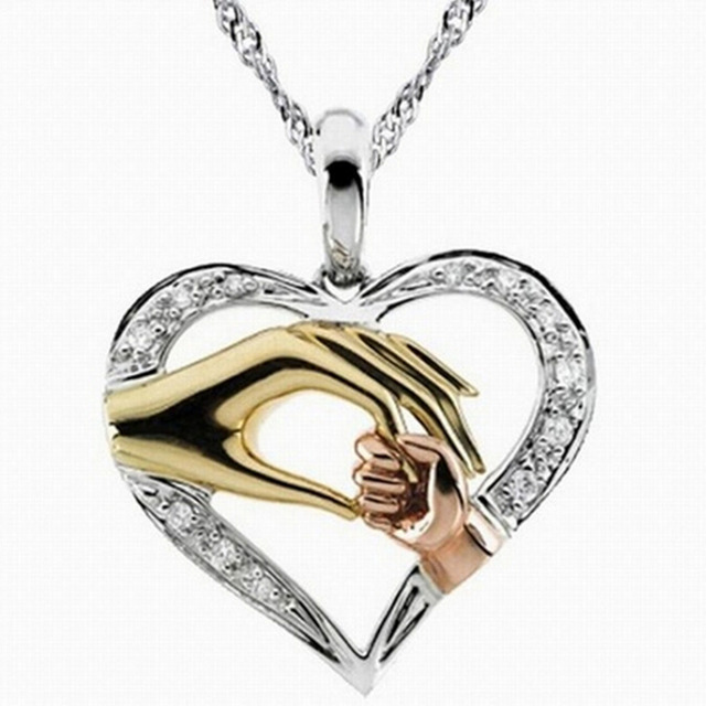 Mom Daughter Son Child Family Love Cubic Zirconia Necklace Moms Jewelry Birthday Gift Mother Baby Heart Pendant