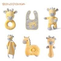 Hot! 6 pcs baby care set giraffe elephant rabbit rattle bib doll comfort towel and pillow toys sets for newborns soft toys BB178