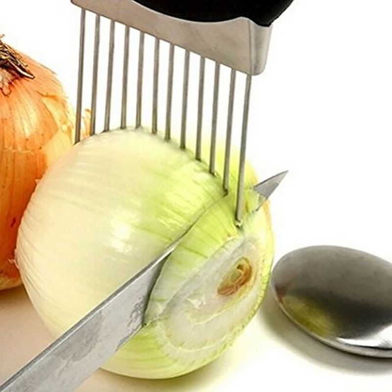 Easy Onion Tomato Holder Slicer Vegetable Tool Kitchen Accessories Cutter Stainl