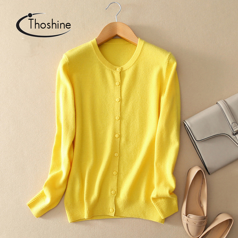 Thoshine Brand Spring Autumn Women Knitted Cashmere Sweaters Solid Color Female Thin Cardigan Jumpers Outerwear Knitwear Coats