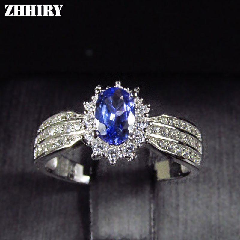 ZHHIRY Natural Blue Tanzanite ring Genuine Solid 925 Sterling Silver Real Gemstone Rings Woman Fine Jewelry все цены