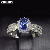ZHHIRY Natural Blue Tanzanite ring Genuine Solid 925 Sterling Silver Real Gemstone Rings Woman Fine Jewelry