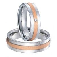 Пользовательские Свадебная пара мужские и женские titanium стали пары обручальные кольца комплекты новинка 2015 Роза цвет золотистый альянсов А