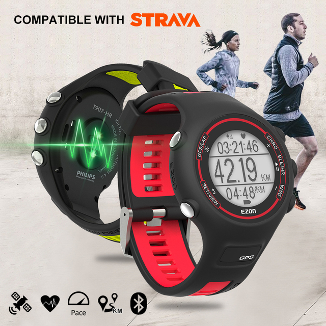 EZON T907-HR Bluetooth Smart Watches Optical Sensor Heart Rate Monitor GPS Running Digital Watch for IOS Android