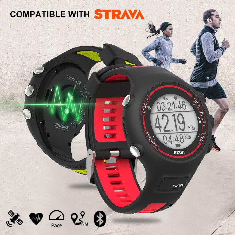 Reloj deportivo Digital para hombre reloj inteligente para correr con GPS con frecuencia cardíaca a base de muñeca 50 metros resistente al agua para IOS android EZON T907 HR-in Relojes deportivos from Relojes de pulsera    1