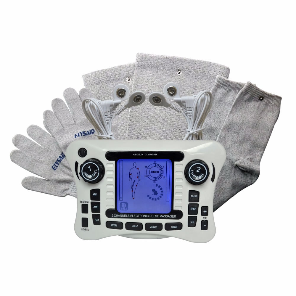 308B Electrical Tens Stimulator Digital Therapy Massager Body Knee Pain Relief With Conducitive Set Glove Sock And Kneepad  308B Electrical Tens Stimulator Digital Therapy Massager Body Knee Pain Relief With Conducitive Set Glove Sock And Kneepad