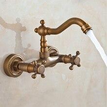 Античная латунь ванной смесители двойные ручки 360 поворотный Faucets AF1043