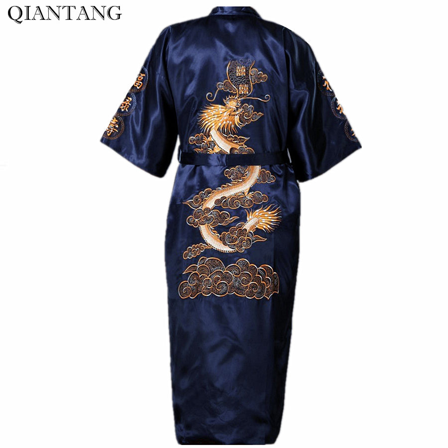 Navy Blue Kimono Robe Chinese Men's Embroider Bath Gown Nightgown Sleepwear Hombre Pijama Dragon Size S M L XL XXL XXXL S0008