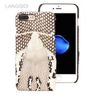 LANGSIDI Brand Phone Case Real Snake Head Back Cover Phone Shell For IPhone 7 Plus Full