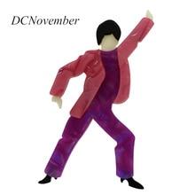 ФОТО 4 colors paris figural john travolta disco dance resin brooch pin acrylic acetate celluloid brooch gifts dcnovember