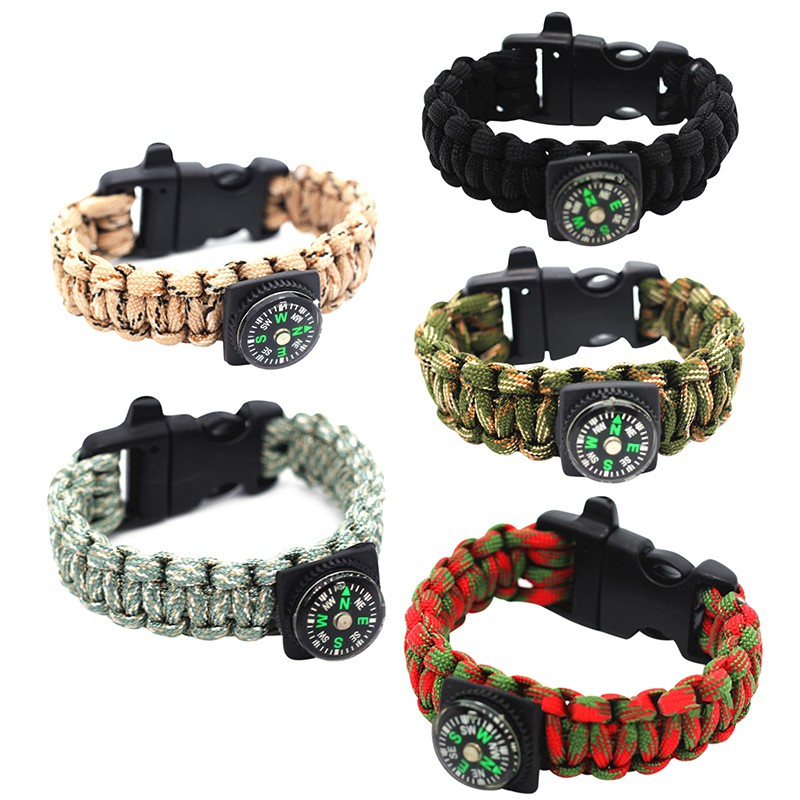 Multi-Function Emergency Survival Bracelet For Men Women Outdoor Rescue Parachute Cord Wristband Whistle Compass Paracord New outdoor emergency surviving quick release parachute hand rope cord bracelet w whistle blue
