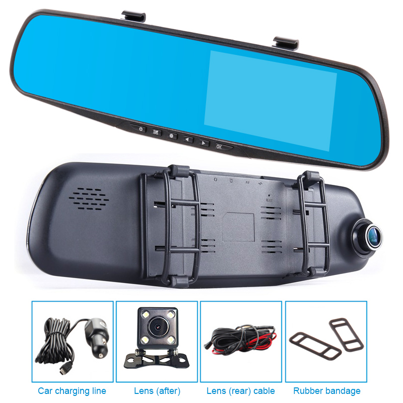 dual lens car HD dvr mirror rearwiew camera driving camcorder video rocorder 4.3 night vision auto registrator Rear view mirror dual lens car rearview mirror dvr video recorder camcorder night vision 4 3 inch allwinner a10 2x140 degree wide angle