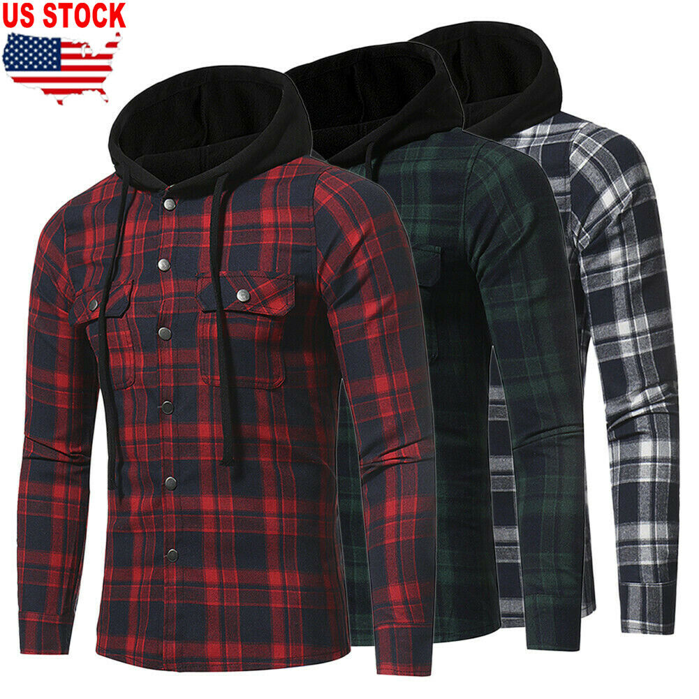 2019 Brand New Style Plus Size Men Casual Long Sleeve Plaid Hooded Checked Pullover Shirt Tops Blouse