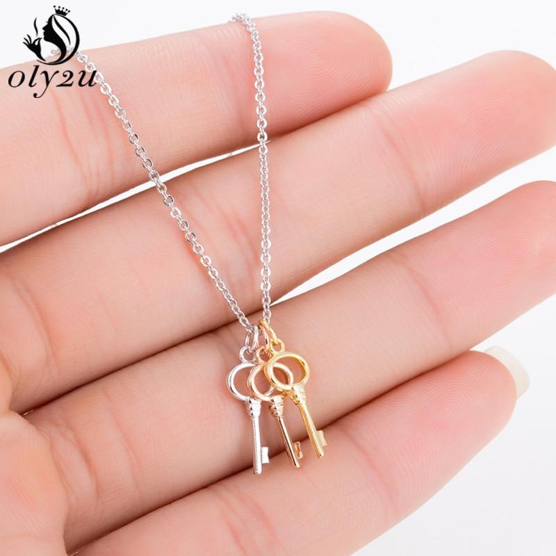Oly2u Hot Sales Mix Color Choker Keys Necklace Hollow Heart Key Pendant Necklace For Women Men Collier Femme Dropshipping