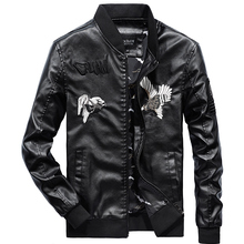 2019 Spring Autumn PU Leather Jacket Men Slim Fit Embroidery Coat Stand Collar Jackets Solid Color Casual Leather Coat WN43 hanqiu leather jacket men winter autumn pu faux leather solid jackets slim fit zipper pocket stand collar casual men jacket