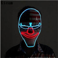 Glowing Halloween Horror Mask Payday 2 Mask Newest Topic Game Series Plastic Old Head Clown Flag Red Head Mask Masquerade Led