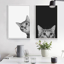 Nordic Simple Cute Black and White Cat Poster HD Print Canvas Decor Painting Cartoon Picture Wall Art for Living Room Kids Room cartoon rocket blast off nursery canvas painting universe black and white art nordic scandinavian poster print kids room decor