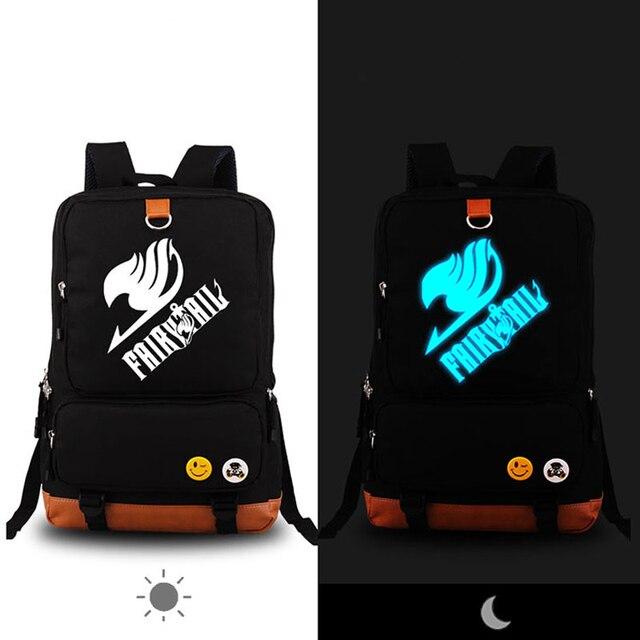 Anime Cartoon Fairy Tail Magic LOGO Luminous Design Travel Men Women Canvas Kids fashion school Printing backpacks Laptop Bags
