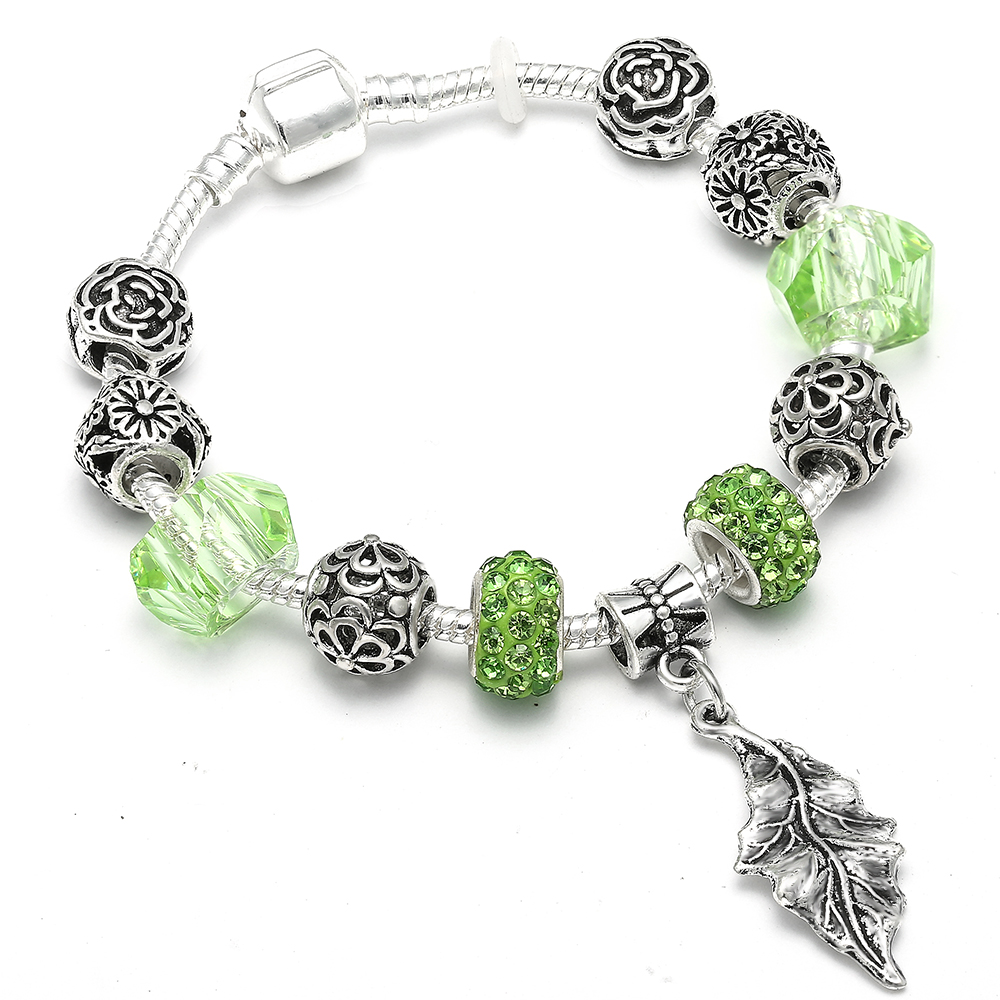 Vintage Leaves Charm Pandora Bracelet for Women Girls With Glass Crystal Bead DIY Bracelet Jewelry Gift Accessories