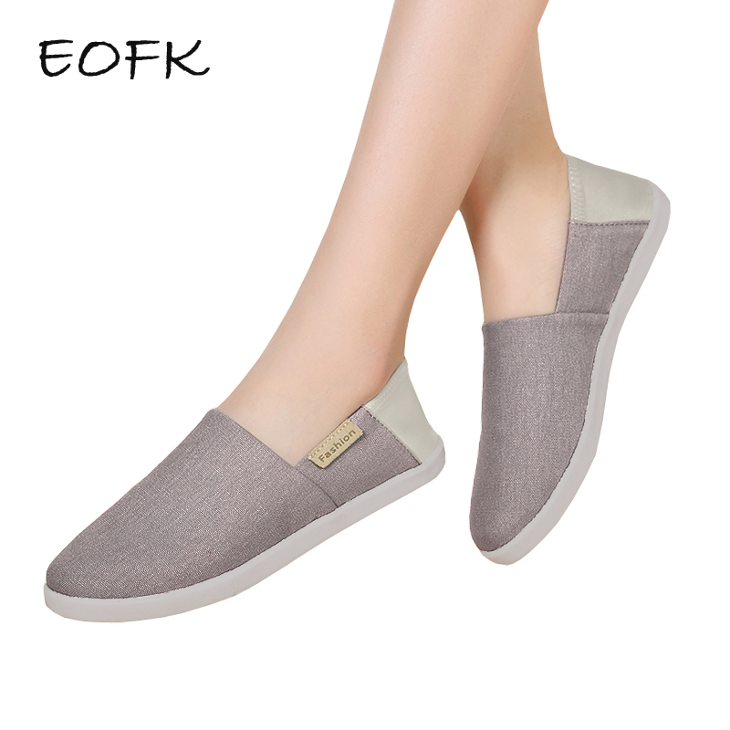 EOFK 2018 Summer Women Canvas Shoes Woman Flats Multi Colors Round toe Breathable Loafers Slip On Ladies Casual Shoes yeerfa fashion women loafers canvas shoes slipony oxford flats heels breathable slip on comfortable mix colors white black shoes