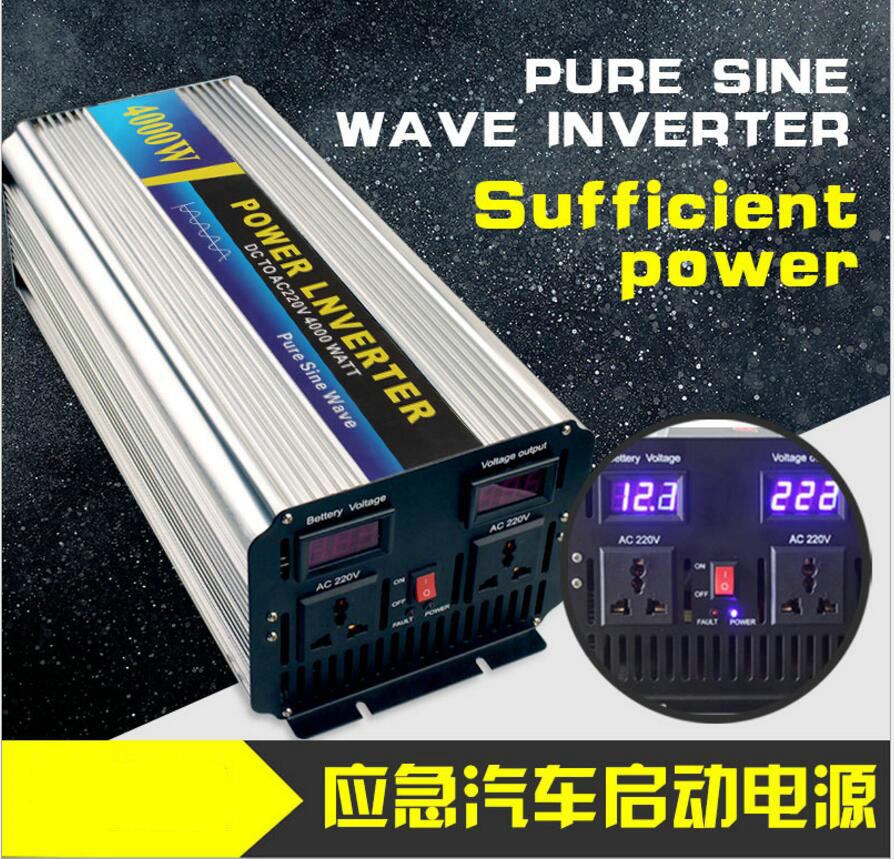 Free Shipping  4000w Peak power inverter 2000W pure sine wave inverter 48V DC TO 220V 50HZ AC Pure Sine Wave Power Inverter