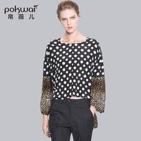 POKWAI Fashion Long Sleeve Silk Shirts Women Tops 2017 Luxury Brand Quality Patchwork Leopard Print Blouse O Neck Undies