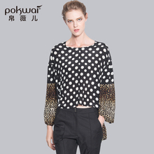 POKWAI Fashion Long Sleeve Silk Shirts Women Tops 2017 Luxury Brand Quality Patchwork Leopard Print Blouse O-Neck Undies