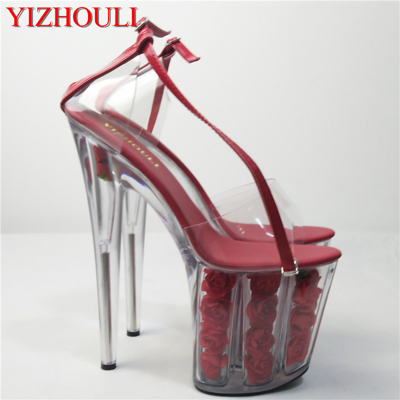 2018 romantic crystal rose bride wedding shoes 20cm ultra high heels platform sandals cos 8 inch high Crystal shoes sexy 20cm ultra high heels crystal sandals colorful glitter platform the bride wedding shoes 8 inch women s shoes