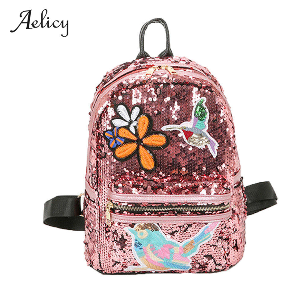 Aelicy New Arrival Women All-match Bag PU Leather Sequins Backpack Girls Small Travel Princess Bling Backpacks Mochila Feminina