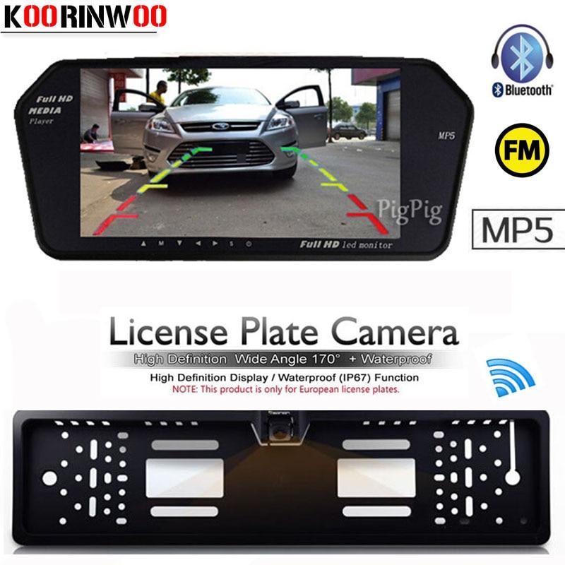 Koorinwoo Wireless Car Mirror Monitor Bluetooth MP5 MP4 FM Car Rearview Camera License Frame TFT LCD Digital Display Reverse Cam